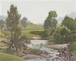 Sale 9189A - Lot 5021 - GAYFIELD SHAW (1885 - 1961) 'The Washpool, Stroud, 1951' oil on canvas board 29.5 x 37 cm (frame: 41 x 48 x 4 cm) signed and dated l.