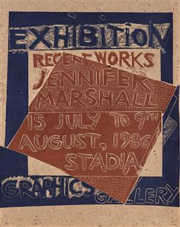 Sale 9254 - Lot 2047 - JENNIFER MARSHALL (1944 - ) Exhibition for Stadia Graphics Gallery, 1986 linocut (unframed) 80 x 62 cm unsigned