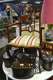 Sale 8039 - Lot 1060 - Edwardian Parlour Chair w Finely Carved Back