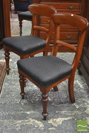 Sale 8282 - Lot 1024 - Set of Six 19th Century Cedar Dining Chairs, with rail backs, horse style black upholstery & turned legs