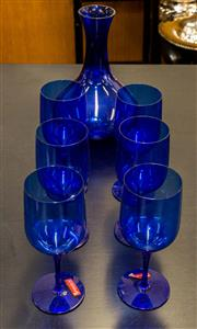 Sale 8310A - Lot 94 - A set of Blue Spigelau drinking glasses with decanter, H 25cm (7)