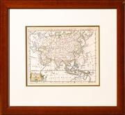 Sale 8625A - Lot 11 - A framed reproduction of an early hand coloured map of the world, map size 19 x 33cm.