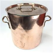 Sale 8872C - Lot 58 - Good Quality French Copper Stock Pot with Lid and Brass Handles, height 40cm, width (with handles) 46cm, diameter 34.5cm