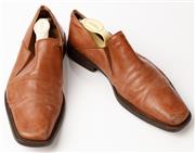 Sale 9080F - Lot 13 - A PAIR OF CESARE PACIOTTI CARAMEL LEATHER SQUARE TOE DRESS SHOES; 8.5 needs resoling.