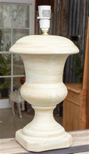 Sale 9060H - Lot 75 - A composite turned urn form lamp base in lemon. Height 46cm