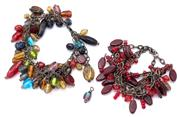 Sale 9071F - Lot 62 - TWO BEADED BRACELETS; in multi colours (some small links missing)