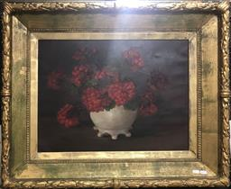 Sale 9106 - Lot 2014 - Artist Unknown (Early C20th) Red Flowers in Porcelain Vase oil on canvas, 70 x 84cm, unsigned