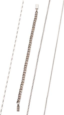 Sale 9164J - Lot 463 - THREE SILVER CHAINS AND A BRACELET; figaro chain, 51cm, 2 box chains, 51cm & 42cm all to bolt ring clasps (1 missing), and a 4.7mm w...