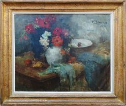 Sale 9150J - Lot 62 - VICTOR SIMONIN (1877-1946, BELGIUM) Impressionist still life oil on canvas 60 X 75 cm signed upper right
