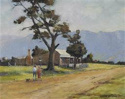 Sale 9170 - Lot 563 - COLIN PARKER (1941 - ) Morning Light Captains Flat, NSW oil on board 33 x 40.5 cm (frame: 42 x 50 x 5 cm) signed lower right