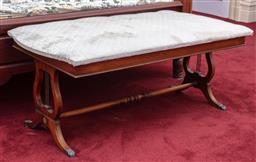 Sale 9190H - Lot 299 - A padded rectangular topped ottoman with lyre shape supports, Height 52cm x Length 140cm x Depth 70cm
