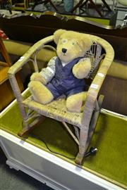 Sale 8013 - Lot 1084 - Kids Cane & Wicker Rocker w Teddy Bear