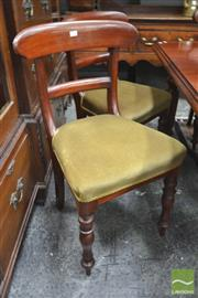 Sale 8282 - Lot 1031 - Set of Six 19th Century Cedar Dining Chairs, with rail backs, green velvet seats & turned legs