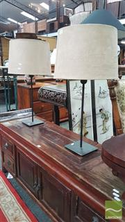 Sale 8404 - Lot 1022 - Pair of Table Lamps with Brown Shades