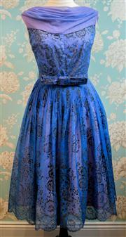 Sale 8577 - Lot 179 - A vintage 1950s blue flocked chiffon party frock featuring beautiful floral flocked chiffon fabric with tiny sparkles throughout, 5...