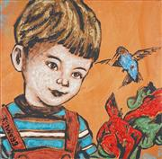Sale 8755 - Lot 524 - David Bromley (1960 - ) - Boy in Dungarees 61 x 61cm