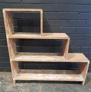 Sale 8979 - Lot 1021 - Shabby Chic Timber Stepside Bookcase (h:91 x w:90 x d:24cm)