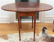 Sale 9070H - Lot 150 - A mahogany oval top Pembroke with stringing and a single drawer on slender tapering legs, Height 75cm x Width Extended 83cm x Depth...