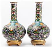 Sale 9083N - Lot 22 - A fine pair of large Chinese cloissone vases on timber bases. Height 47cm