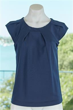 Sale 9120K - Lot 56 - An Emporio Armani navy blue short sleeve top with pleated neck line. Size 40