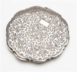 Sale 9123J - Lot 280 - A large and heavy European hallmark 835 silver lobe edged compact, C: 1940, hand engraved to the lid with deep scrolls and flowers w...