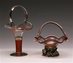 Sale 9131 - Lot 51 - Art glass basket vases (2), one with a silver plated base (tallest H: 31cm)
