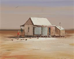 Sale 9170 - Lot 573 - COLIN PARKER (1941 - ) Outstation Near Quilpie, Queensland oil on board 29 x 36.5 cm (frame: 45 x 52 x 4 cm) signed lower right