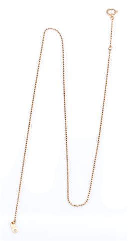 Sale 9194 - Lot 569 - AN 18CT GOLD CHAIN; a 0.96 mm wide ball chain to bolt ring clasp, length 43cm. wt.1.79g.