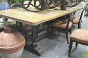 Sale 8272 - Lot 1046 - Elm Double Pedestal Dining Table in Black (245cm)