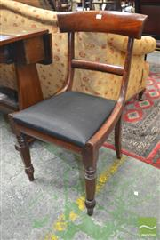 Sale 8282 - Lot 1065 - Two Early 19th Century Mahogany Railback Chairs, with drop in seats and horse hair style upholstery.