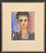 Sale 8286 - Lot 578 - Danila Vassilieff (1897 - 1958) - Portrait of a Woman, c1947 28.5 x 22cm