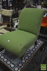 Sale 8326 - Lot 1260 - Victorian Slipper Chair In Green Upholstery