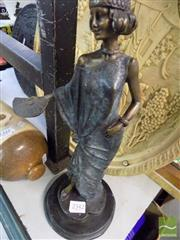 Sale 8470 - Lot 28 - Cast Metal Art Deco Style Lady with Fan (H 36cm)