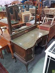 Sale 8566 - Lot 1294 - Timber Mirrored Back Dressing Table with Glass Top on Cabriole Legs (120)