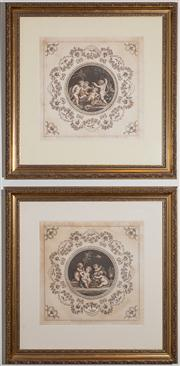 Sale 8595A - Lot 13 - A pair of late 18th Century hand coloured engravings of bacchanalian scenes, after Pergolesi, dated 1782, in gilt frames, some fault...