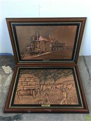Sale 8649R - Lot 34 - Timber Framed Pair of Copper Lined Artworks by T. Gregus and B. Southgate