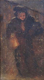 Sale 8683A - Lot 5038 - Artist Unknown - Lady in the Snow, c1900 35 x 18cm