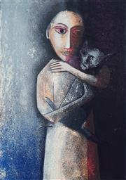 Sale 8755 - Lot 504 - Robert Dickerson (1924 - 2015) - Girl with Cat 63.5 x 47.5cm