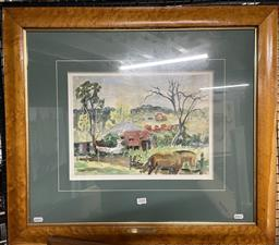 Sale 9135 - Lot 2048 - William Torrance (1912 - 1988) - Country Home with Washing 27 x 37 cm (frame: 65 x 72 x 3 cm)