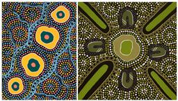 Sale 9256A - Lot 5166 - MARLENE PLUNKETT (2 works) - Elders Circle & Communities 40.5 x 40.5 cm; 40.5 x 30.5 cm (stretched and ready to hang)