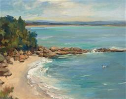 Sale 9256A - Lot 5055 - JOHN BAIRD (1902 - 1988) Beach at Nora Head, Cabbage Tree Bay oil on canvas board 33.5 x 43.5 cm (frame: 42 x 52 x 3 cm) signed indi...