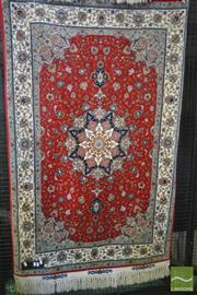 Sale 8255 - Lot 1075 - Small Fine Wool & Silk Inlaid Tabriz or Afshar Carpet, with cream medallion on red field & lotus border (195 x 100cm)