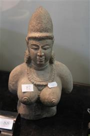 Sale 8296 - Lot 87 - Indian Vintage Stone Bust Of Lady