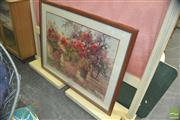 Sale 8331 - Lot 1367 - Large Framed Retro Roses Print