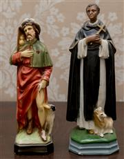 Sale 8375A - Lot 8 - Two pious figurines with dogs, taller H 22cm