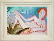 Sale 8459 - Lot 539 - Geoffrey Proud (1946 - ) - Untitled, 1988 (Reclined Woman) 44.5 x 63.5cm