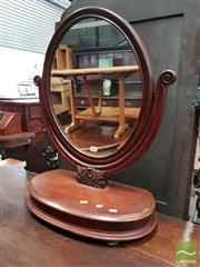 Sale 8485 - Lot 1067 - Victorian Mahogany Toilet Mirror, on lyre shaped support