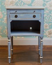 Sale 8500A - Lot 89 - A blue handpainted vintage bedside table with pullout drawer and bottom shelf - Condition: Very Good - Measurement: 50cm deep x 38cm...