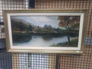 Sale 8833 - Lot 2025 - An Early Oil Painting of River Dochart by F Harman, signed and inscribed