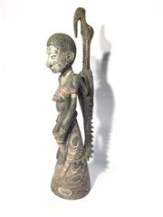 Sale 8857H - Lot 96 - A Papua New Guinea PNG Carved Sculpture Painted With  Natural Pigments ,General Wear, Some Small Chips On Base , H 74cm